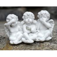 engel trio zittend horen zien en zwijgen polystone hoog 5x9.5 cm