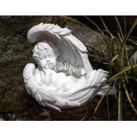 engel in vleugel polystone hoog 14 cm