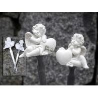 engel met hart op steker 2 assortiment design lang 17 cm