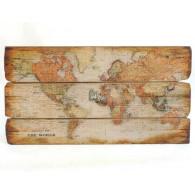 muurdecoratie wereld kaart hout 73x120