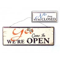 tekst bord no were close/yes were open hout op=op