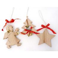 kerst hanger boom met bel hout lang 23 cm op=op
