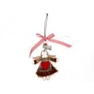 hanger engel hout en textiel (8cm) lengte 23 cm op=op