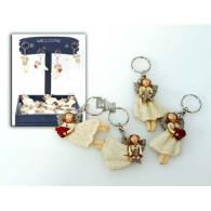 sleutel hanger engel polystone 4 assortiment design 7 cm display presentatie op=op