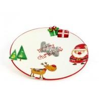 kerst bord keramiek rond 24 cm op=op
