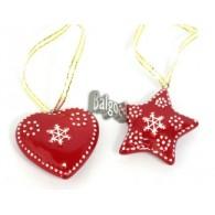 kerst hanger ster en hart keramiek4 cm op=op