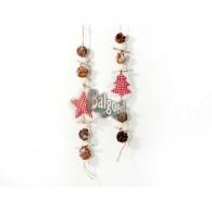 kerst hanger ster, dennenboom en dennenappel lang 52 cm op=op