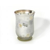 windlicht sneeuwvlok glas hoog 15 cm op=op