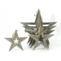 kerst hanger ster van hout set van 5 stuks 20-35 cm op=op