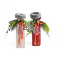 kerst fles hoes textiel met muts 2 assortiment design op=op