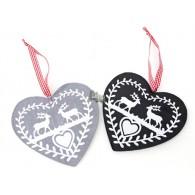kerst hanger rendier en hart 2 assortiment kleur (op=op)