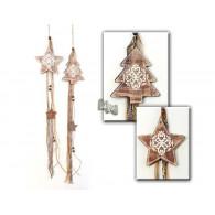 kerst hanger dennenboom en ster 2 assortiment design hout 72 cm lang (op=op)