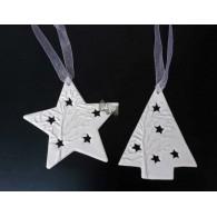 kerst hanger ster en boom keramiek (11x11 cm) lang totaal 23 cm op=op