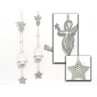 hanger met theelicht houder engel 2 assortiment design 77 cm lang op=op