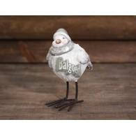vogel met muts met voeten polystone hoog 14 cm