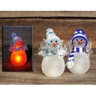 sneeuwman van glas met led hoog 12 cm 2 assortiment design