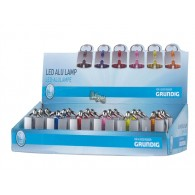 zaklamp sleutelhanger aluminium 1 led inclusief 3x AG3 batterijen 6 assortiment kleur in display