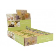zeep kaars 42x42x42 mm 4 assortiment kleur en geur in display