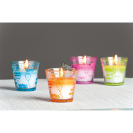 glas met kaars happy birthday, verjaardag ballon 4 assortiment kleur